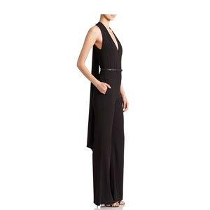 Black Halston Heritage jumpsuit with scarf detail